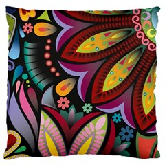 Flower Floral Sunflower Rose Color Rainbow Circle Polka Large Flano Cushion Case (two Sides)