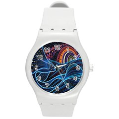 Fish Out Of Water Monster Space Rainbow Circle Polka Line Wave Chevron Star Round Plastic Sport Watch (m)