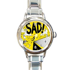 Have Meant  Tech Science Future Sad Yellow Street Round Italian Charm Watch