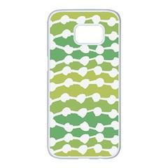 Polkadot Polka Circle Round Line Wave Chevron Waves Green White Samsung Galaxy S7 Edge White Seamless Case