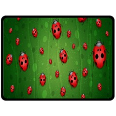 Ladybugs Red Leaf Green Polka Animals Insect Double Sided Fleece Blanket (large)