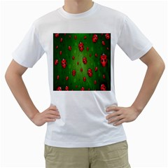Ladybugs Red Leaf Green Polka Animals Insect Men s T Shirt (white)