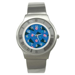 Seamless Triangle Circle Blue Waves Pink Stainless Steel Watch