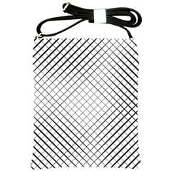 Simple Pattern Waves Plaid Black White Shoulder Sling Bags