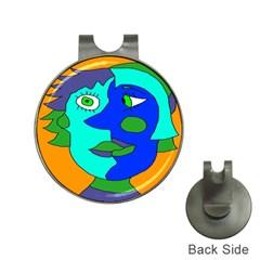Visual Face Blue Orange Green Mask Hat Clips With Golf Markers