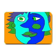 Visual Face Blue Orange Green Mask Small Doormat