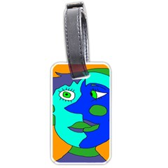 Visual Face Blue Orange Green Mask Luggage Tags (two Sides)