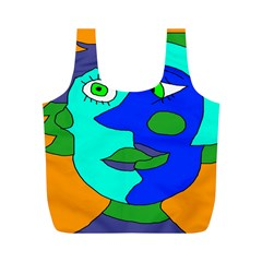 Visual Face Blue Orange Green Mask Full Print Recycle Bags (m)