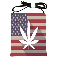 Flag American Star Blue Line White Red Marijuana Leaf Shoulder Sling Bags
