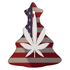 Flag American Star Blue Line White Red Marijuana Leaf Christmas Tree Ornament (two Sides)