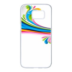 Colored Lines Rainbow Samsung Galaxy S7 Edge White Seamless Case
