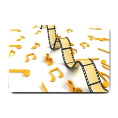 Isolated Three Dimensional Negative Roll Musical Notes Movie Small Doormat