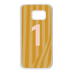 Number 1 Line Vertical Yellow Pink Orange Wave Chevron Samsung Galaxy S7 White Seamless Case