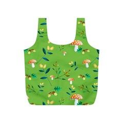 Mushrooms Flower Leaf Tulip Full Print Recycle Bags (s)