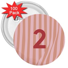 Number 2 Line Vertical Red Pink Wave Chevron 3  Buttons (100 Pack)