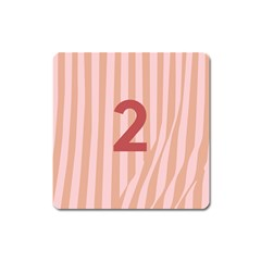 Number 2 Line Vertical Red Pink Wave Chevron Square Magnet