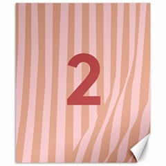 Number 2 Line Vertical Red Pink Wave Chevron Canvas 8  X 10