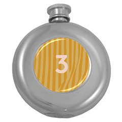 Number 3 Line Vertical Yellow Pink Orange Wave Chevron Round Hip Flask (5 Oz)
