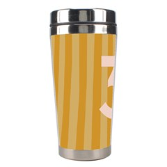 Number 3 Line Vertical Yellow Pink Orange Wave Chevron Stainless Steel Travel Tumblers