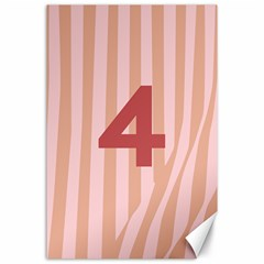 Number 4 Line Vertical Red Pink Wave Chevron Canvas 24  X 36