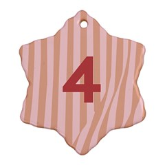Number 4 Line Vertical Red Pink Wave Chevron Ornament (snowflake)