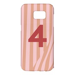 Number 4 Line Vertical Red Pink Wave Chevron Samsung Galaxy S7 Edge Hardshell Case
