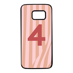 Number 4 Line Vertical Red Pink Wave Chevron Samsung Galaxy S7 Black Seamless Case