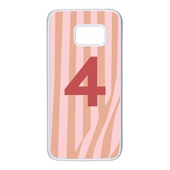 Number 4 Line Vertical Red Pink Wave Chevron Samsung Galaxy S7 White Seamless Case