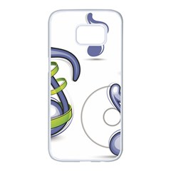 Notes Musical Elements Samsung Galaxy S7 Edge White Seamless Case