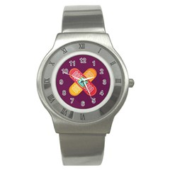 Plaster Scratch Sore Polka Line Purple Yellow Stainless Steel Watch