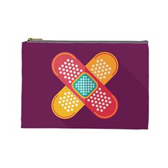 Plaster Scratch Sore Polka Line Purple Yellow Cosmetic Bag (large)