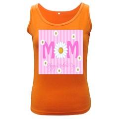 Valentine Happy Mothers Day Pink Heart Love Sunflower Flower Women s Dark Tank Top