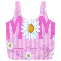 Valentine Happy Mothers Day Pink Heart Love Sunflower Flower Full Print Recycle Bags (l)