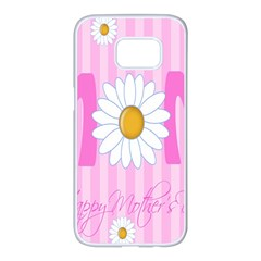 Valentine Happy Mothers Day Pink Heart Love Sunflower Flower Samsung Galaxy S7 Edge White Seamless Case