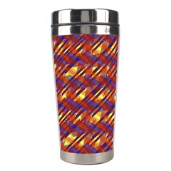 Linje Chevron Blue Yellow Brown Stainless Steel Travel Tumblers