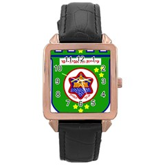 Tel Aviv Coat Of Arms  Rose Gold Leather Watch