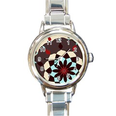 Red And Black Flower Pattern Round Italian Charm Watch