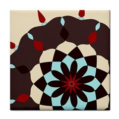 Red And Black Flower Pattern Tile Coasters