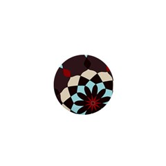 Red And Black Flower Pattern 1  Mini Buttons
