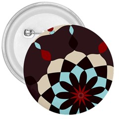 Red And Black Flower Pattern 3  Buttons