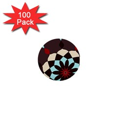 Red And Black Flower Pattern 1  Mini Buttons (100 Pack)