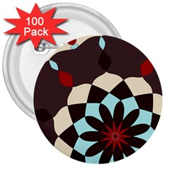 Red And Black Flower Pattern 3  Buttons (100 Pack)