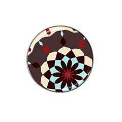 Red And Black Flower Pattern Hat Clip Ball Marker (10 Pack)