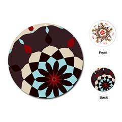 Red And Black Flower Pattern Playing Cards (round)