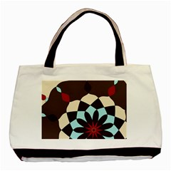 Red And Black Flower Pattern Basic Tote Bag