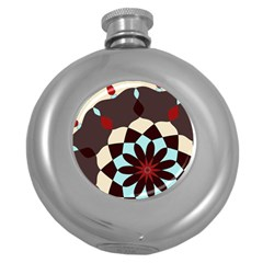 Red And Black Flower Pattern Round Hip Flask (5 Oz)