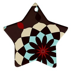 Red And Black Flower Pattern Star Ornament (two Sides)