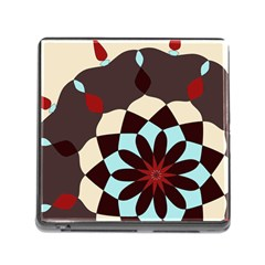 Red And Black Flower Pattern Memory Card Reader (square)