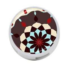Red And Black Flower Pattern 4 Port Usb Hub (two Sides)