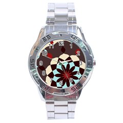 Red And Black Flower Pattern Stainless Steel Analogue Watch